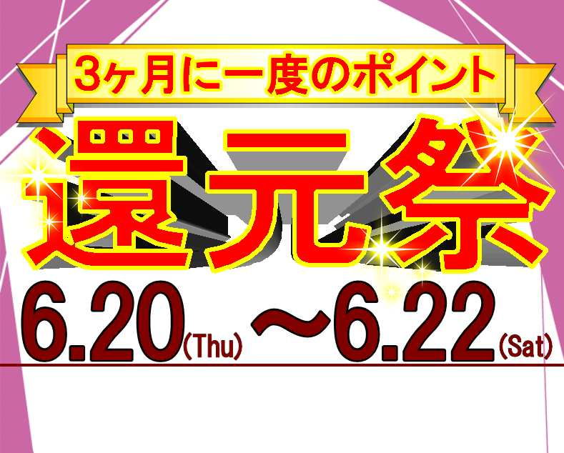 3ヶ月に1度のポイント還元祭(^O^)